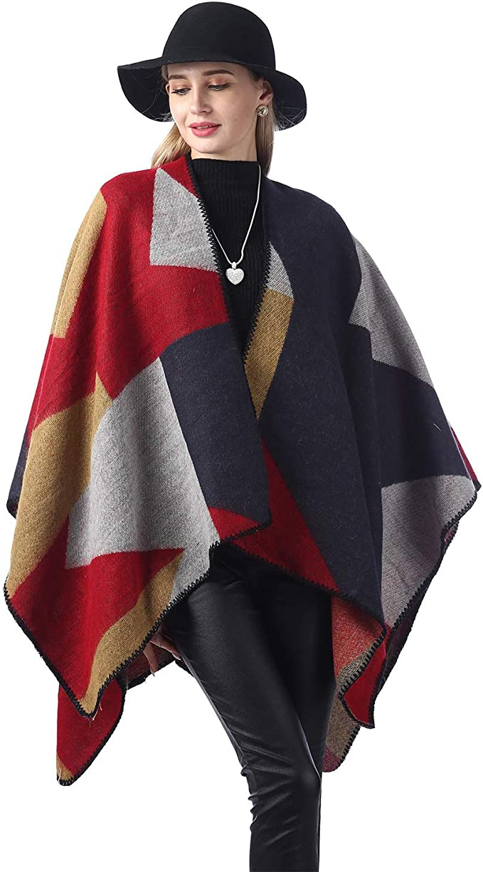 Missdill Warm Wraps And Shawl Winter Poncho Cape for Women Oversized Cardigan