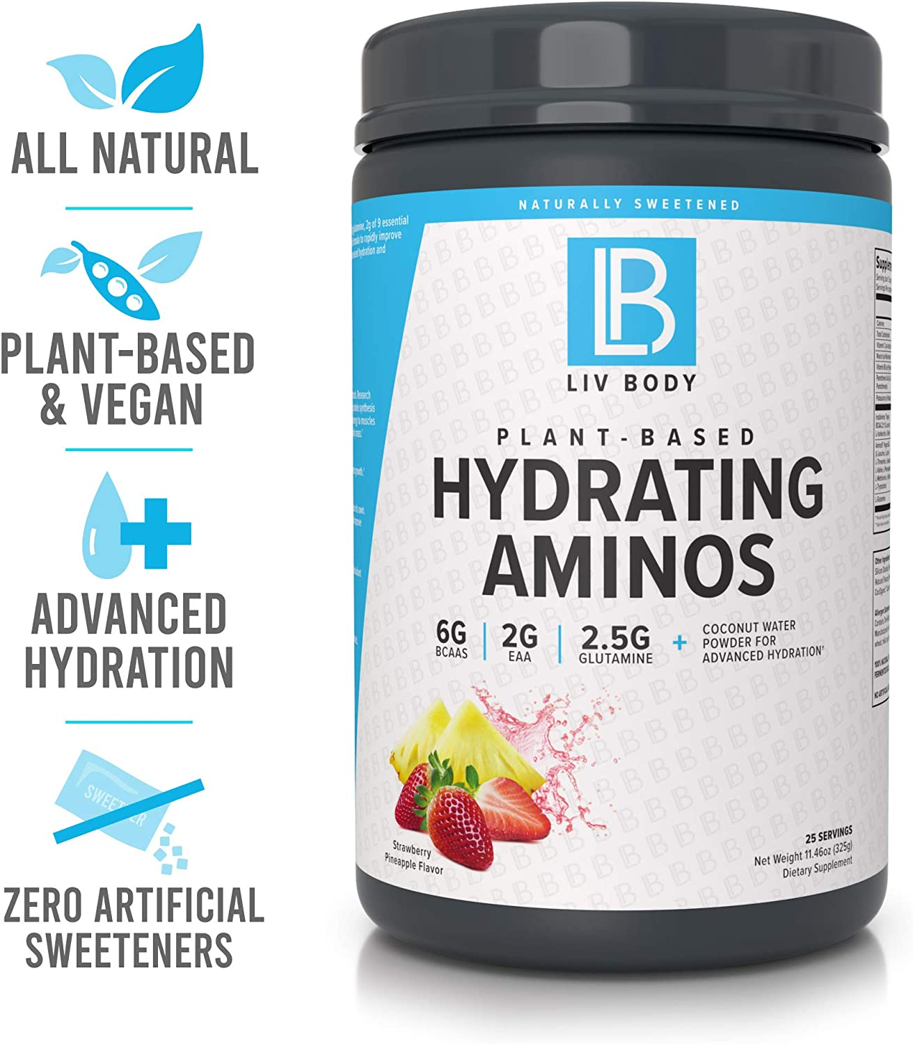 LIV Body LIV Plant Based Hydrating Aminos 6g of BCAA, 2g of EAA 2.5g of Glutamine Coconut Water Powder for Advanced Hydration Strawberry Pineapple