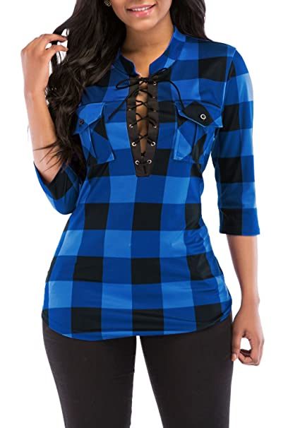 f5c136e6c93280 Women's Sexy Fitted Plaid Shirt 3/4 Sleeves Blouses V Neck Tie Front Tops  with Pockets (Medium, Blue) at Amazon Women's Clothing store: