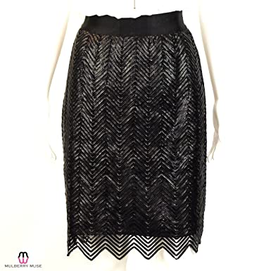 6e121b7f71 Image Unavailable. Image not available for. Color: Gracia Womens Leather  Zig Zag Skirt ...