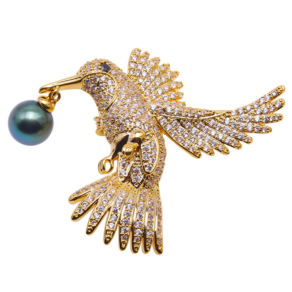 JYX Luxurious Pearl Brooch 10mm Peacock-green Tahitian Pearl Brooch Pin Eagle-style Golden-tone