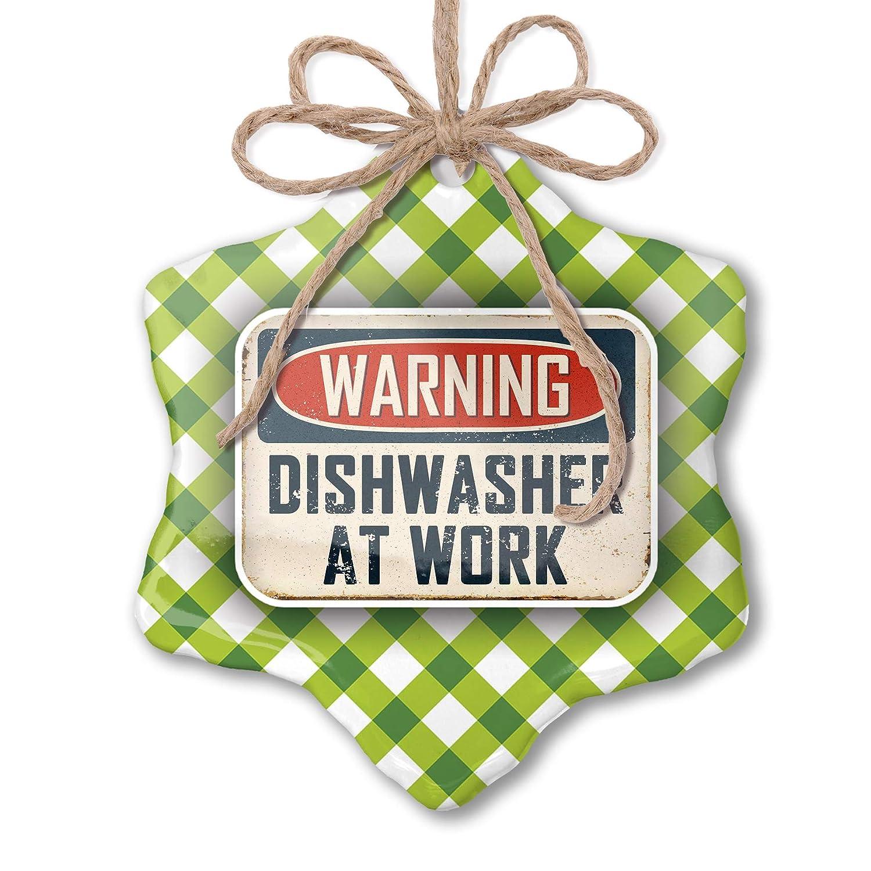 NEONBLOND Christmas Ornament Warning Dishwasher at Work Vintage Fun Job Sign Green Plaid