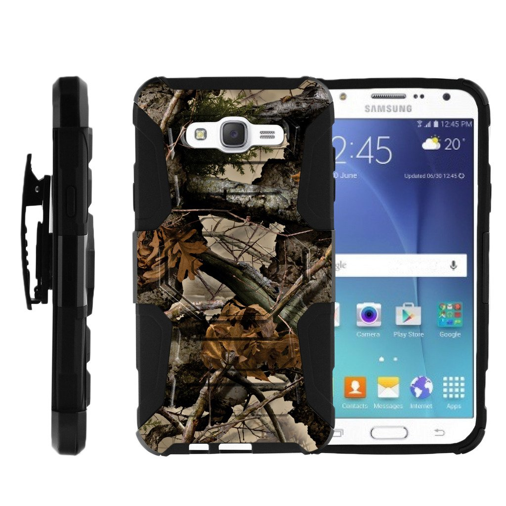 TurtleArmor | Samsung Galaxy J7 Case | J700 [Octo Guard] Dual Layer Case Holster Belt Clip Sturdy Kickstand Cover - Tree Leaves Camouflage