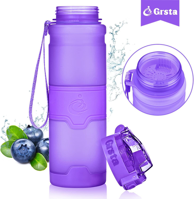 Grsta Botella de Agua Deportiva -400ml//500ml//700ml//1000ml- Sin BPA /& a Prueba de Fugas Correr Gimnasio Reutilizable de plastico tritan Agua Botellas Ideal con Filtro para ni/ños para ni/ños