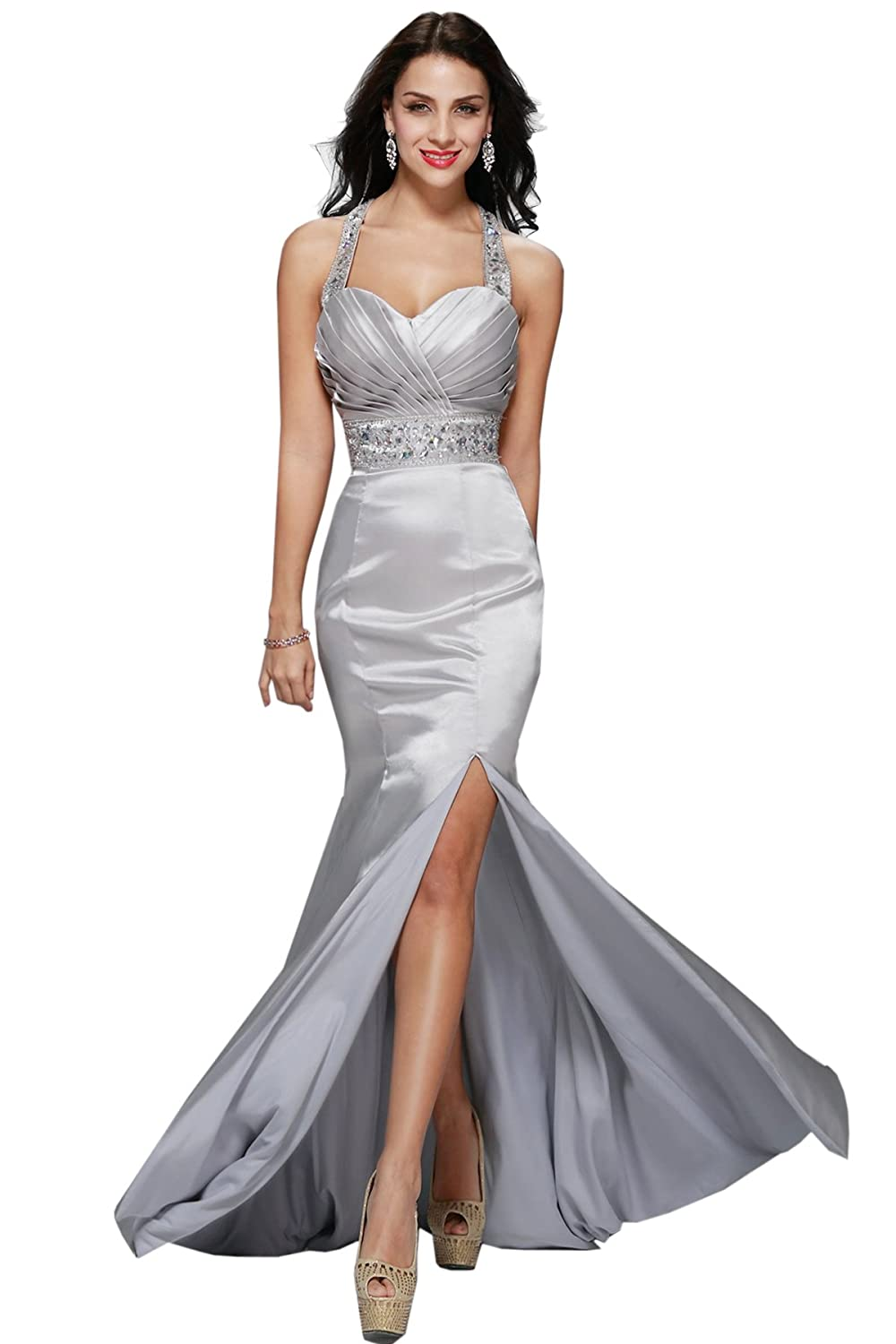 Womens Silver Metallic Mermaid Long Formal Evening Gown Bridesmaid Prom Dress E39 at Amazon Womens Clothing store: