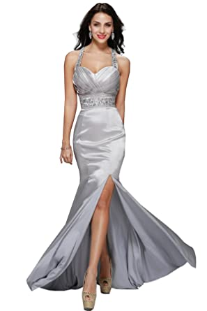 398a63e3247 Women s Silver Metallic Mermaid Long Formal Evening Gown Bridesmaid Prom  Dress