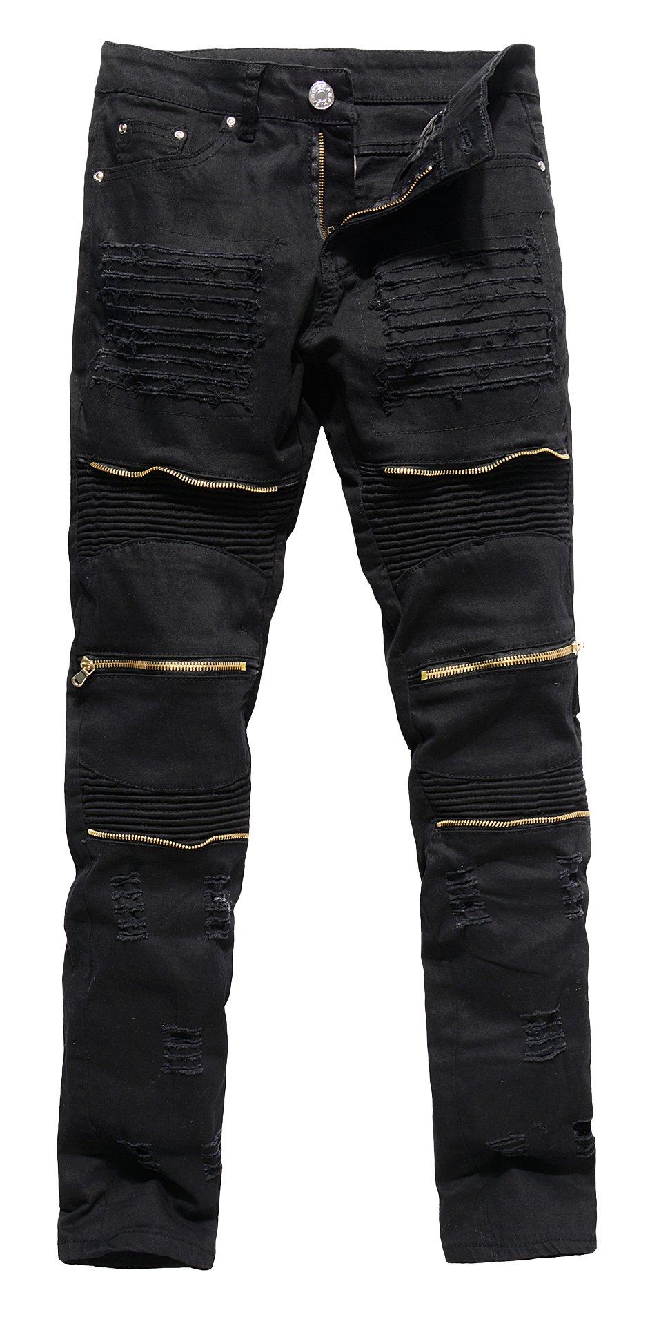 COLINNA Men's Vintage Distressed Ripped Biker Moto Denim Pants Slim Fit Zipper Jeans