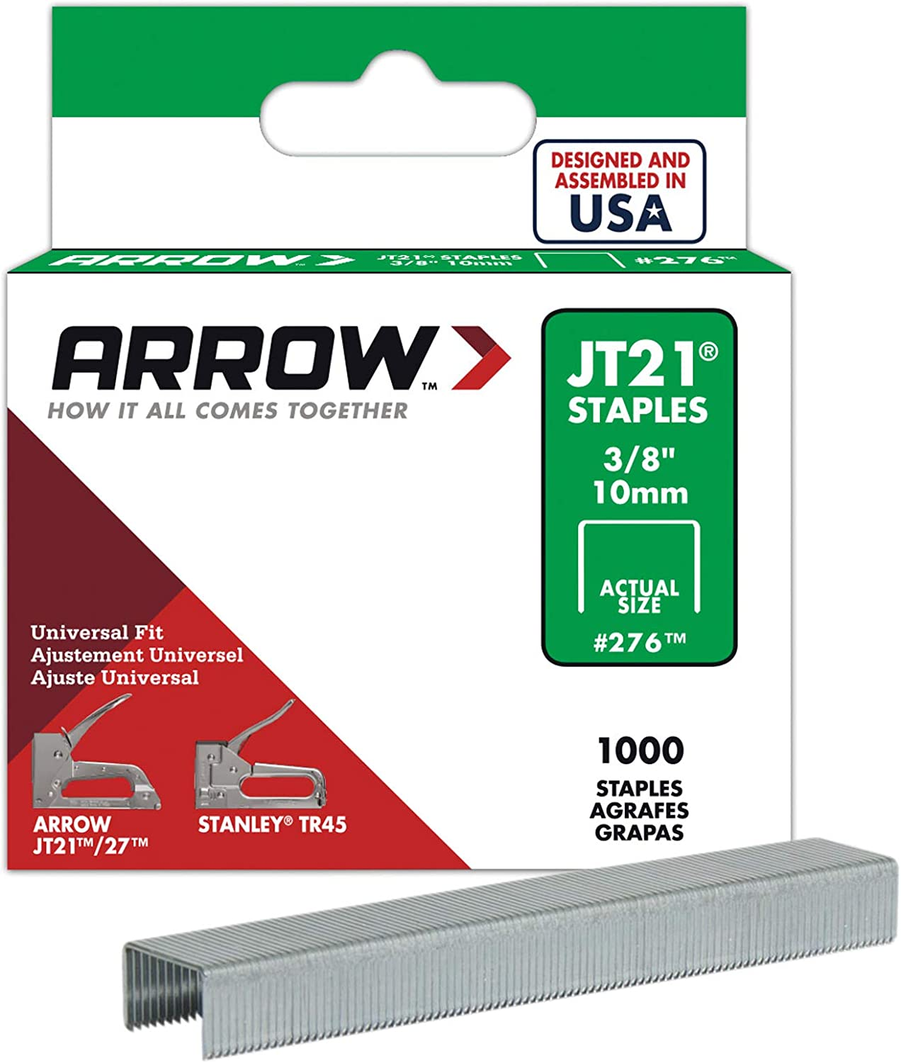 Arrow Fastener 276 Genuine JT21/T27 3/8-Inch Staples, 1,000-Pack