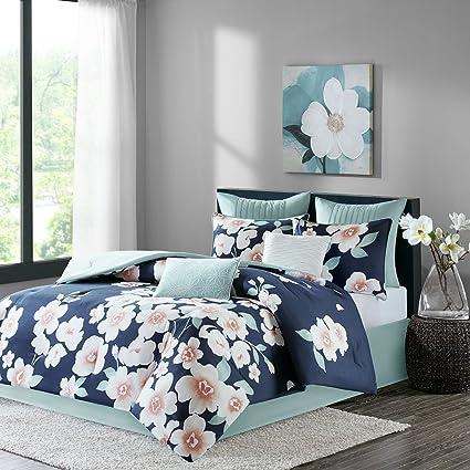 Perfect Amazon.com: Sakura 8 Piece Cotton Comforter Set Navy Queen: Home  KL37