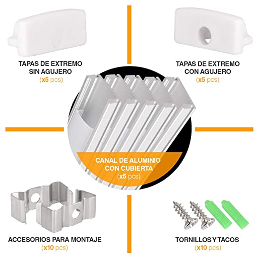 Perfil de aluminio para tira LED, Pack de 5 canaletas de 1 metro para LED con cubierta / tapa blanca translucida protectora. Incluido todo necesario para montaje. (PLATA 00): Amazon.es: Industria, empresas y ciencia