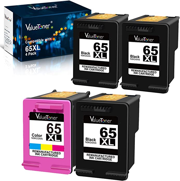 Valuetoner Remanufactured Ink Cartridges Replacement for HP 65XL 2 Pack (1 Black, 1 Color) Bundled with 2 Black
