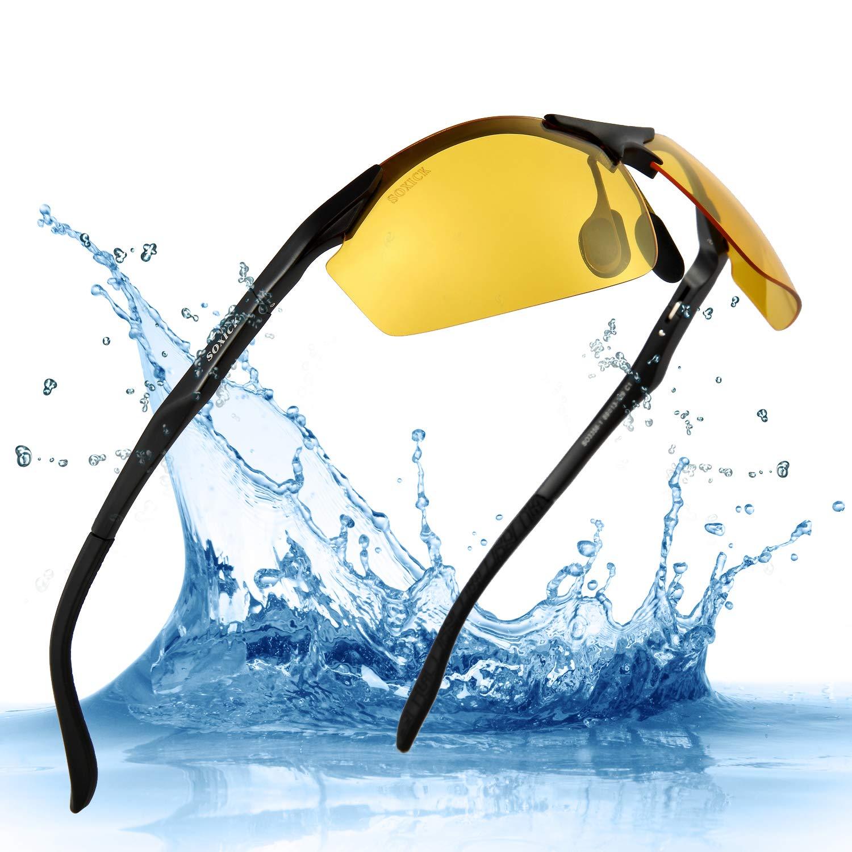 ee934dc6ee Amazon.com  SOXICK Night Driving Glasses HD Polarized Lens Retro Wayfarer  Sunglasses for Men   Women (Black Frame)  Sports   Outdoors