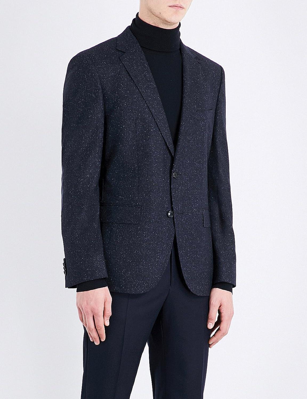 ボス アウター ジャケットブルゾン elbow-patched slim-fit wool-blend jacket DARK_BLUE 1ne [並行輸入品] B076X3GNR8