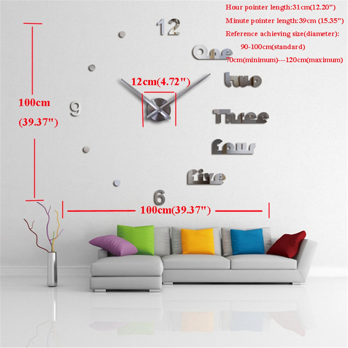 Amazon.com: DIY 3D Wall Clock Modern Large Home Decor Sticker ...