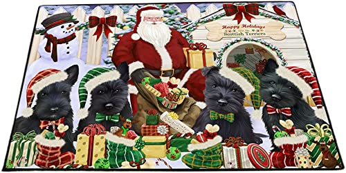 Happy Holidays Christmas Scottish Terriers Dog House Gathering Floormat FLMS51144 18×24