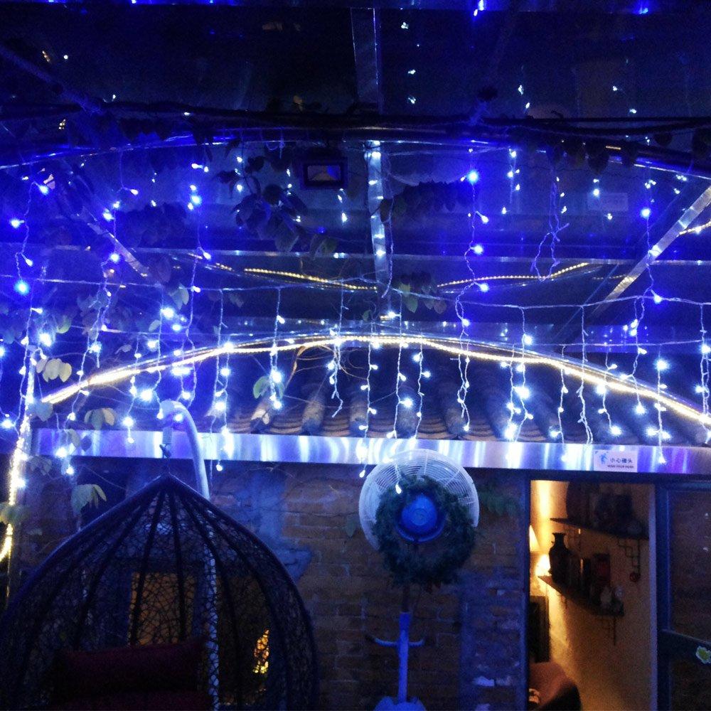 AGPTEK Linkable Design 5M/16.4FTx 0.6M/2FT &150 LED Connectable Led Christmas Lights, Garden Decoration Window Tree Roof Snow String Lights - Blue