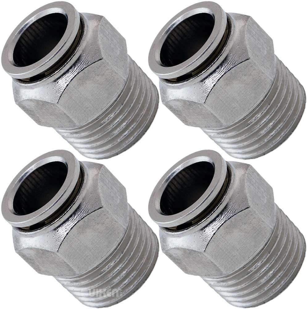 Vixen Air 1/2'' NPT Male Push to Connect (PTC) Straight Pneumatic Fitting for 1/2'' OD Hose - Bundle of Four Fittings VXA7121-4