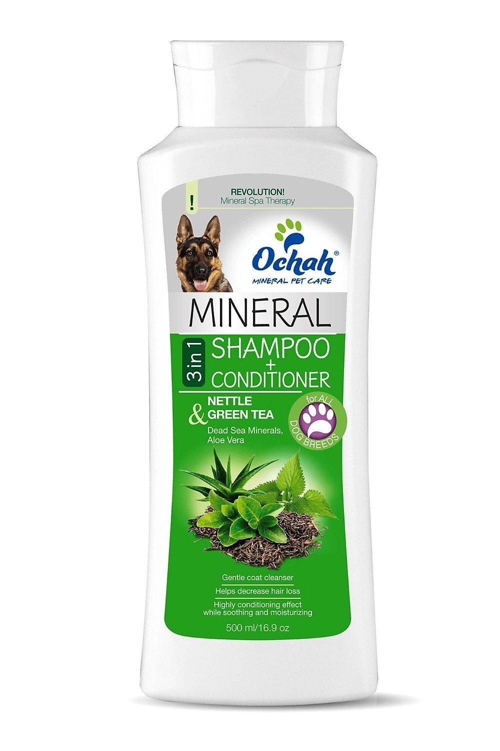 Ochah Mineral 3 in 1 Shampoo & Conditioner for Sensitive Skin w/ Nettle & Green Tea- Decreases Shedding, Provides Relief for Itchy Skin, & Promotes a Soft Tangle Free Coat - 16.9oz