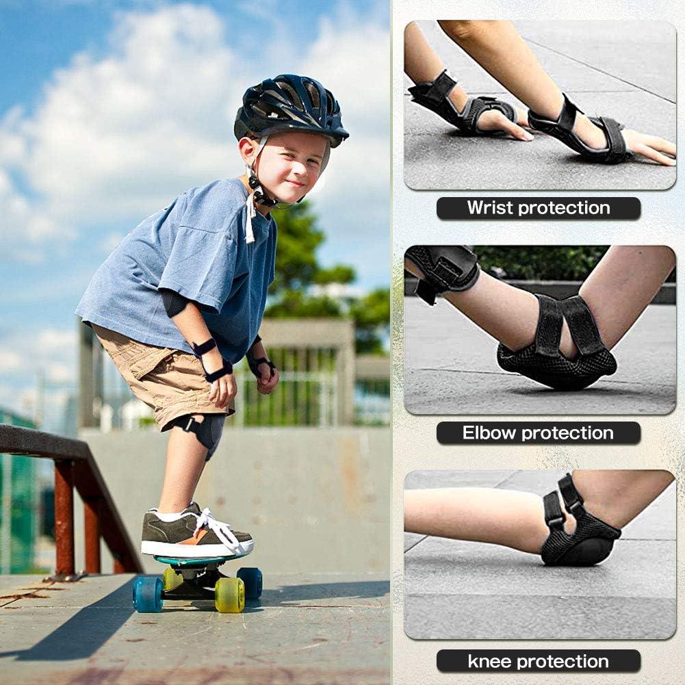 BINSENI Kinder Knieschoner Set 6 in 1 Schutzausr/üstung Verstellbare Knie-Ellbogen-Handgelenk-Protektorenset Geeignet f/ür Kinder Skateboardfahren Reiten Roller Rollschuhlaufen Rot