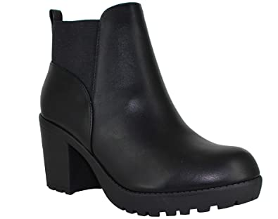 e23c95907e2 SODA Women s Section Vegan Faux Leather Chunky Heel Ankle Boot (10 M US