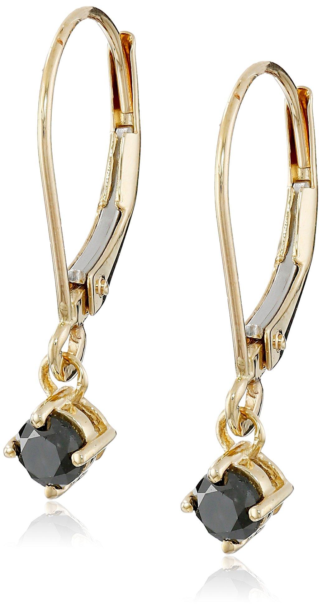 14k Yellow Gold Black Diamond Earrings (3/8 cttw)