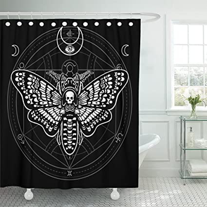 TOMPOP Shower Curtain Moth Dead Head Mystical Circle Esoteric Symbol Sacred Geometry Waterproof Polyester Fabric 60