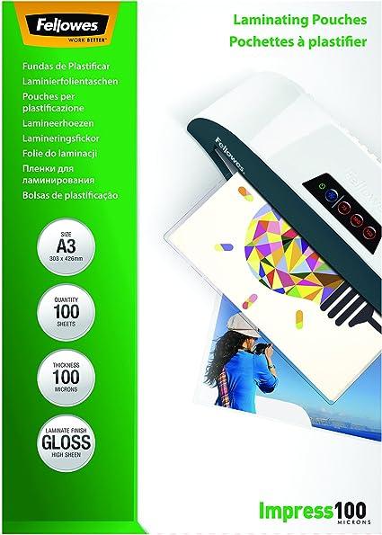Fellowes 53512 - Pack de 100 fundas para plastificar, formato A3 (297 × 420 mm): Amazon.es: Oficina y papelería