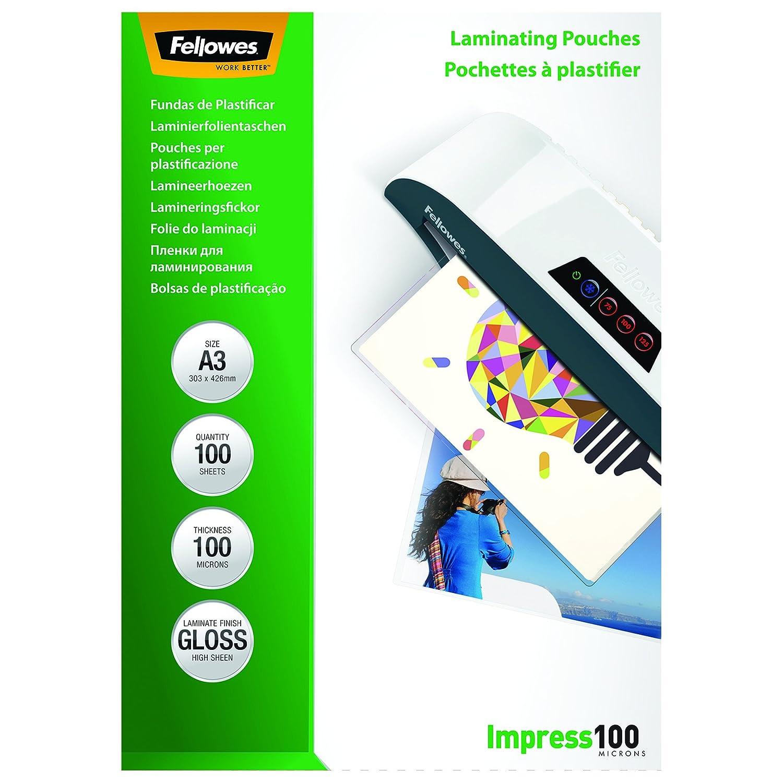 DIN A5 100er Pack Fellowes 53510 Laminierfolien Impress 100 Mikron