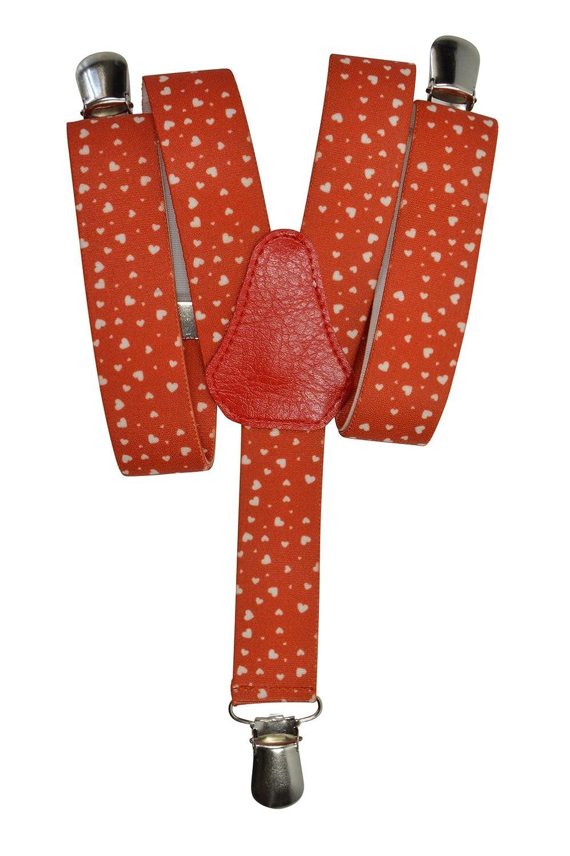 Childrens 1-5 Years Elasticated Clip on Braces/Suspenders with Heart Design 2.5cm - Black KIDSBRACESJhearts-black