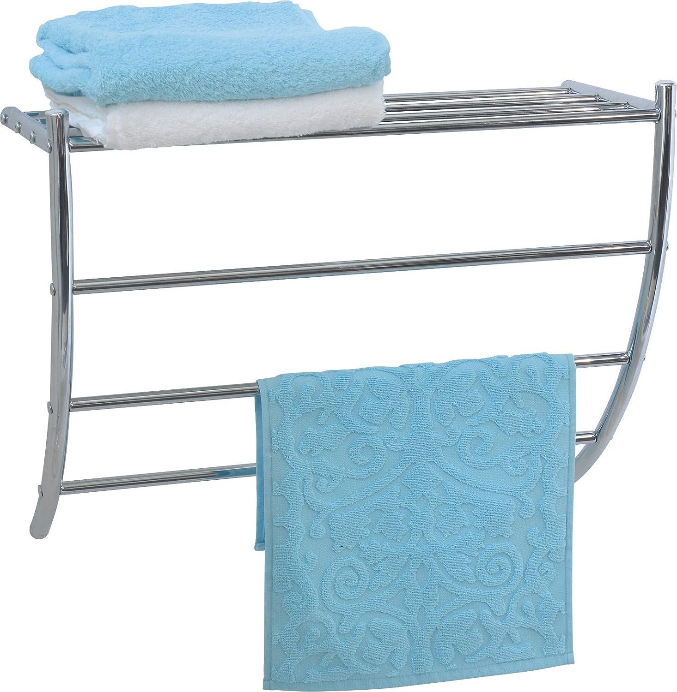 Amazon.com: EVIDECO 9859102 Wall Mounted Bathroom Metal Shelf and 3 ...