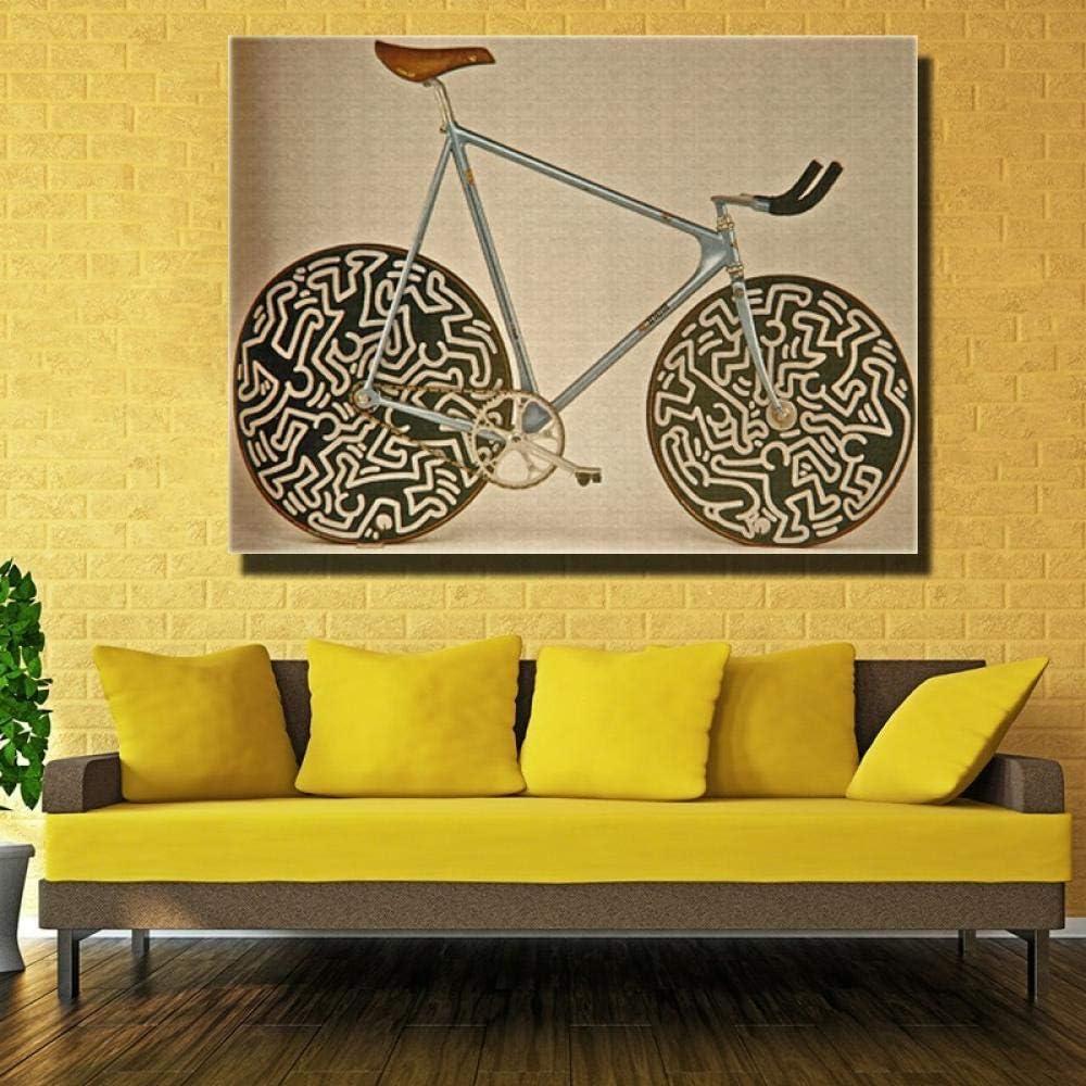 Lienzo Pintura Cuadro Abstracto De La Bicicleta Arte Abstracto ...