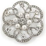 Bridal, Wedding, Prom Crystal, Simulated Pearl Open Flower Brooch In Rhodium Plating - 50mm