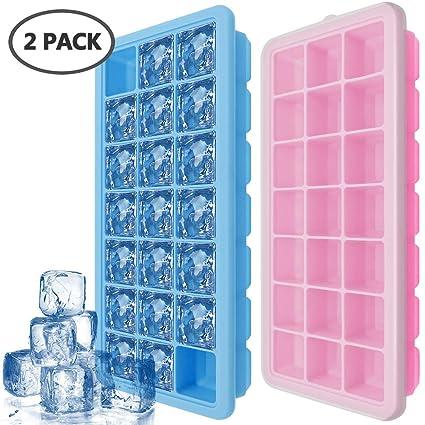 IHUIXINHE Bandejas de Hielo, 2 Piezas Silicona Ice Cube Bandejas con Tapas de Sellado,