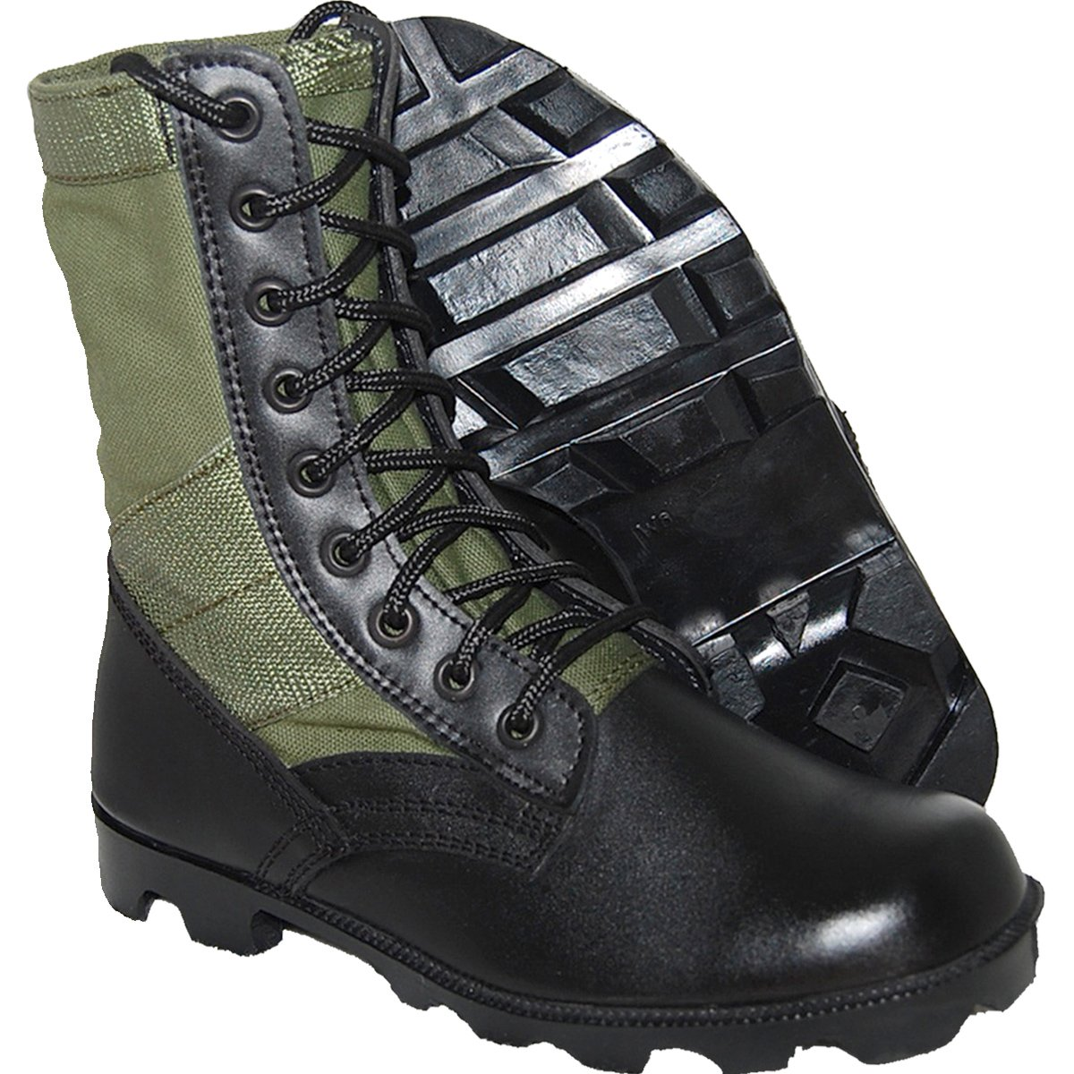 KRAZY SHOE ARTISTS Jungle Boot 8 Inch Leather Black Green Tactical Men's Combat Size 10 by KRAZY SHOE ARTISTS