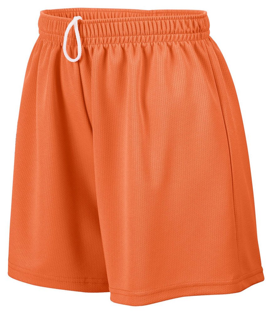 Augusta Drop Ship Girl's Wicking Mesh Short, Medium, ORANGE