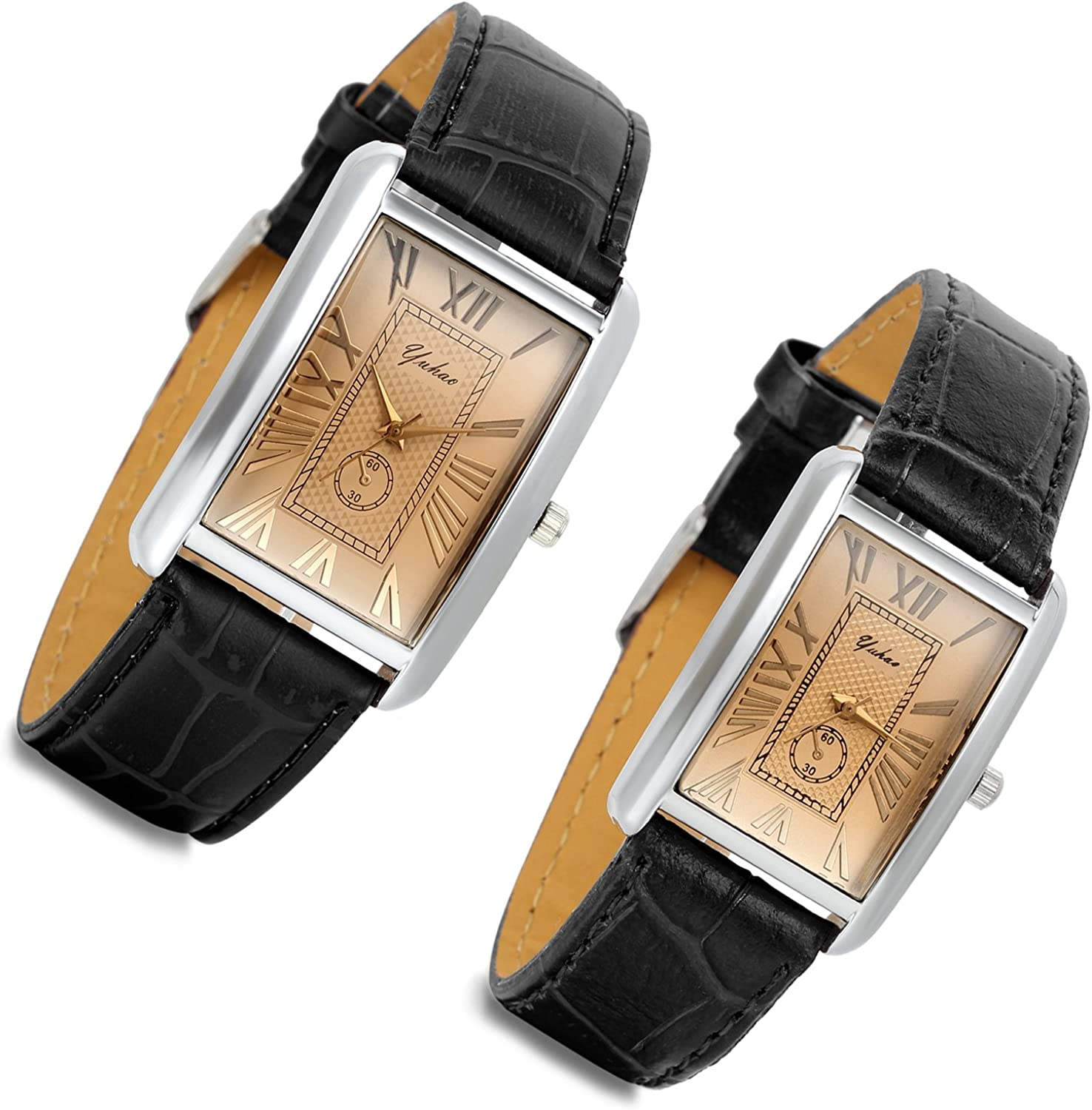Romantic Couple Watch Set Square Watches Love for Men and Women 2 Pcs Retro Vintage Silver Tone Case Crocodile Pattern Black Leather Wristwatch for Valentine s Day
