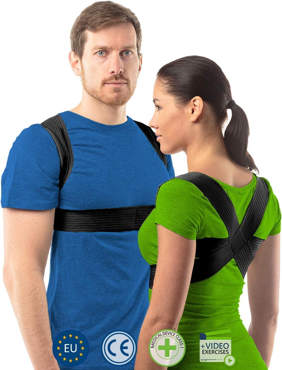 aHeal Corrector de Postura para Hombre y Mujer | Soporte para Corregir la Postura | Corsé Ortopédico para Escoliosis Cifosis | Alivio del Dolor de Espalda y Corrector de Mala Postura | Talla 2 Negro