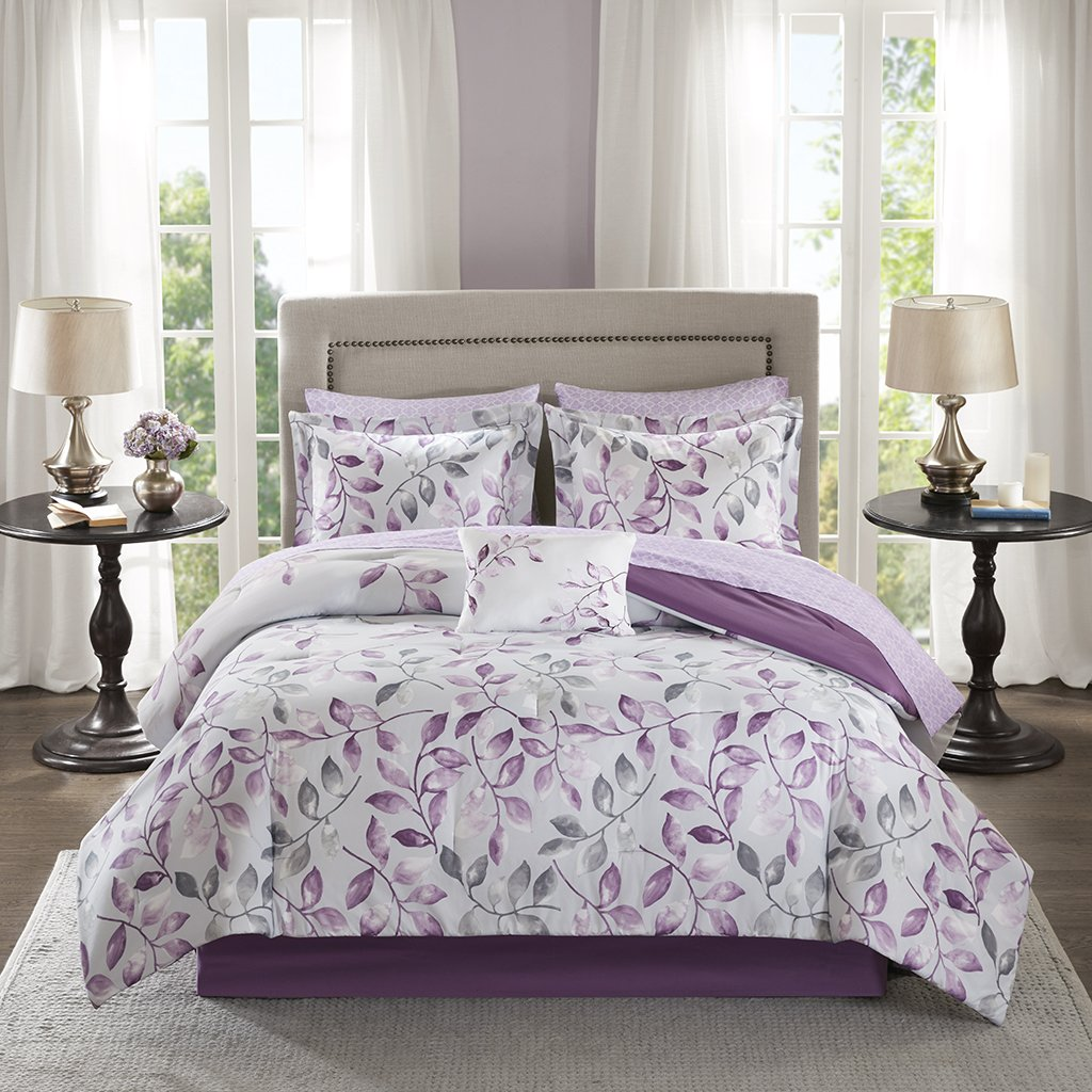 Madison Park Essentials Lafael Twin Size Bed Comforter Set Bed in A Bag - Purple, Grey, Vine Leaf – 7 Pieces Bedding Sets – Ultra Soft Microfiber with Cotton Sheets Bedroom Comforters