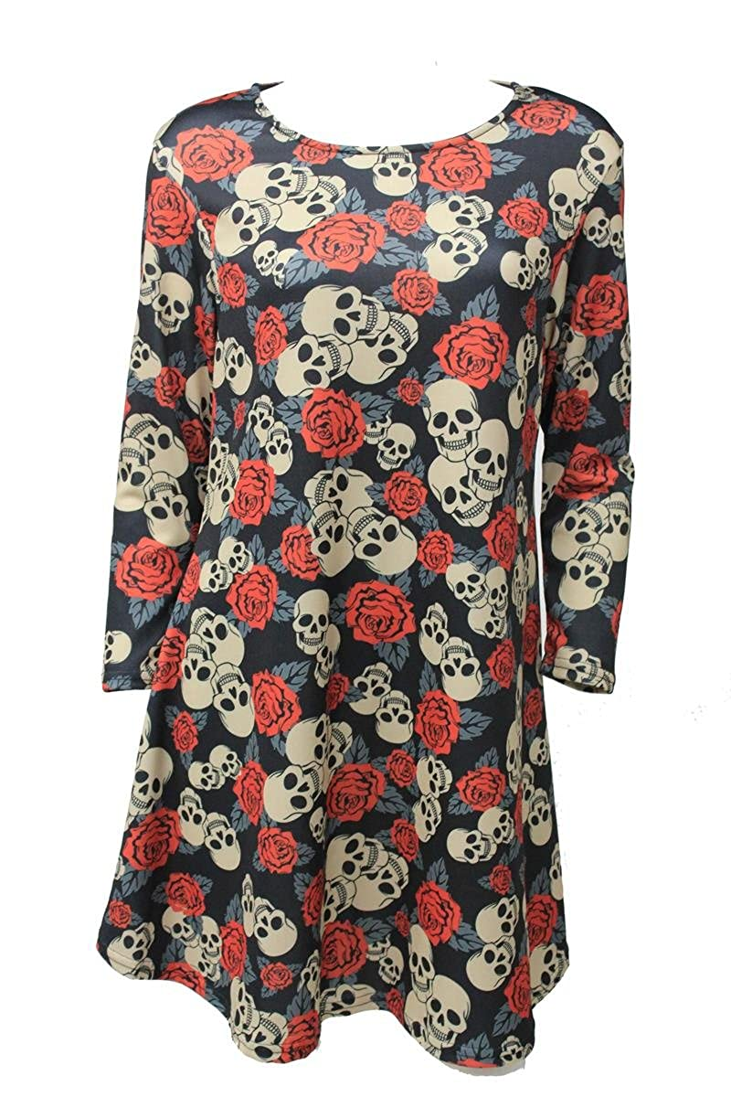 Girl Talk Clothing Womens Halloween Plus Size Skull Rose 3/4 Sleeve Swing Dress DRE2522