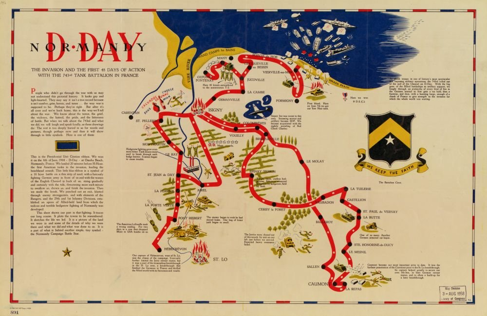 the invasion and the first 48 days of action with the 743rd tank battalion in France|Size 16x24 1944 to 1945 map D-day Normandy Ready to Frame Army|Campaigns|Coasts|France|Normandy|Tank Battalion