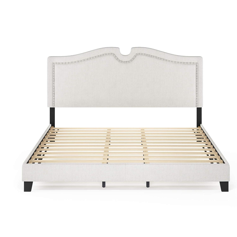 Furinno Davina Nailhead Trim Bed Frame, King, Gray
