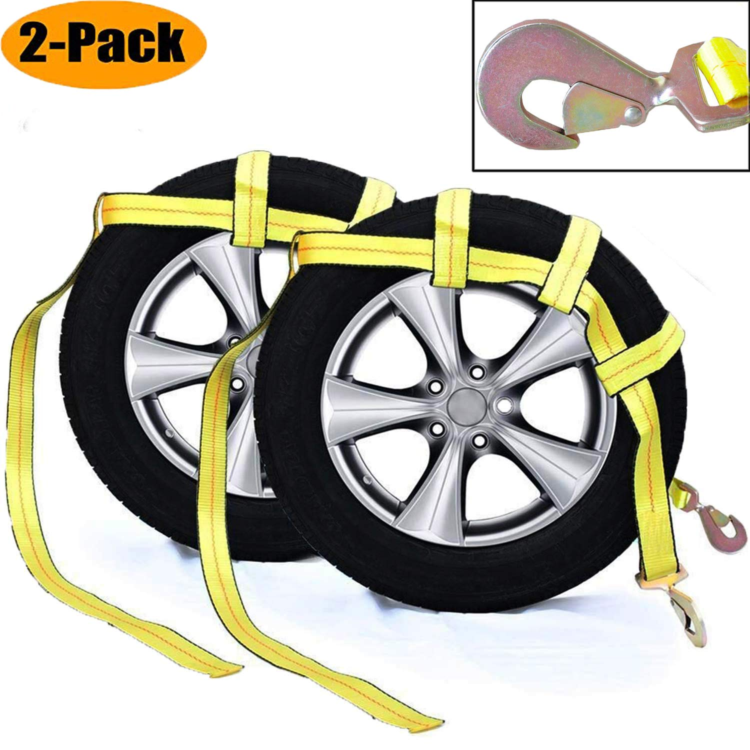 Tow Dolly Basket Strap with Twisted Snap Hooks for Small to Medium Size Tires by Robbor Brand 2 inch Webbing 12,000 lbs Breaking Strength Tire Bonnet&Tire Net Fits Most 14-17'' Tires by Robbor