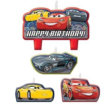 Amscan - 171763 coches 3 cumpleaños día para velas de tartas ...