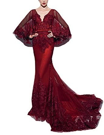 Mermaid Prom Dresses 2018 Beaded Tulle Applique Long Formal Evening Gown Sleeve Burgundy Size 2
