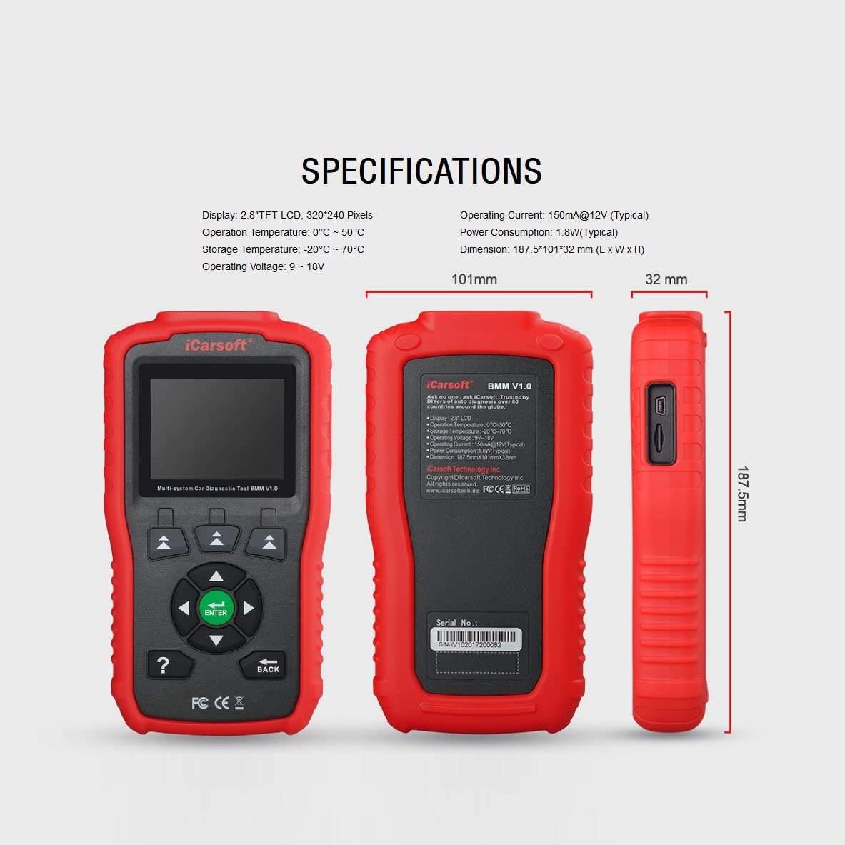 iCarsoft LR V1.0 Auto Diagnostic Scanner BMM V1.0 for BMW and Mini Oil Service Reset and Battery Test New Version of I910 Red