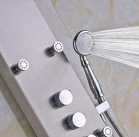 FLG Lluvia cascada mampara de ducha de masaje 6pc pistola níquel ...
