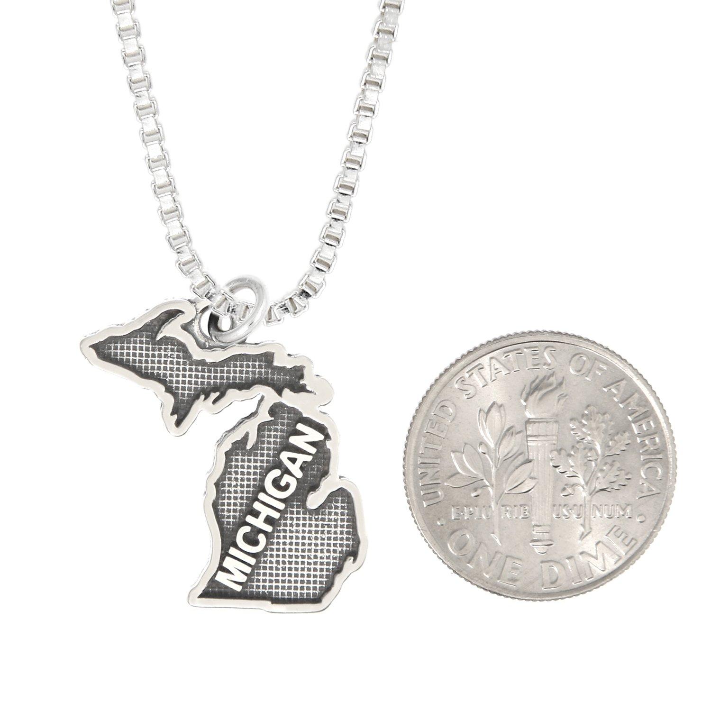 with Options Lgu Sterling Silver Oxidized MIchigan Charm