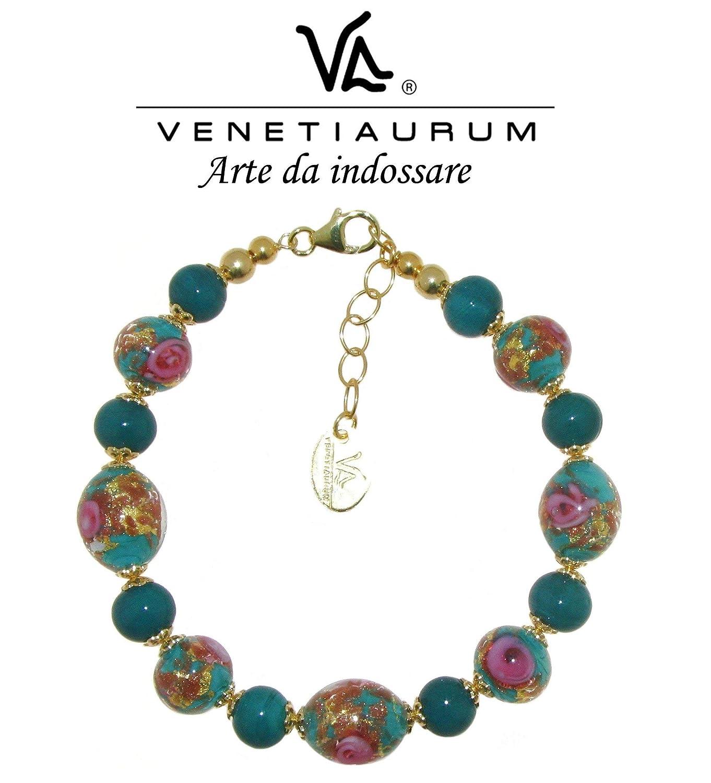 Venetiaurum Collana in vetro di Murano e Argento 925 Made in Italy