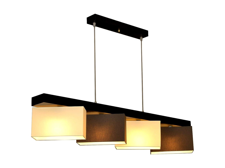 Hängelampe Hängeleuchte Milano M4H MIX Lampe Leuchte 4 flammig verschiedene Varianten (Creme-Braun)