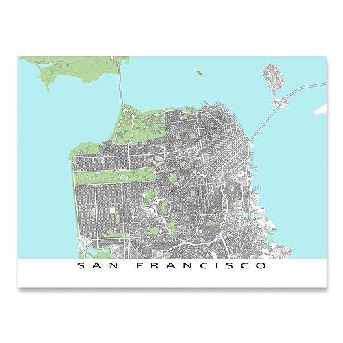 Amazon.com: San Francisco Map Print, California USA Street Art ...